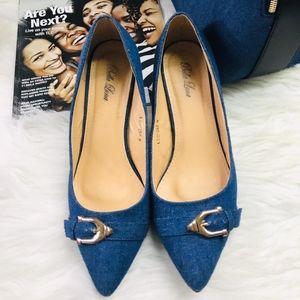 Shoes - 🆕️Denim Buckle Pointy Toe Kitten Heel